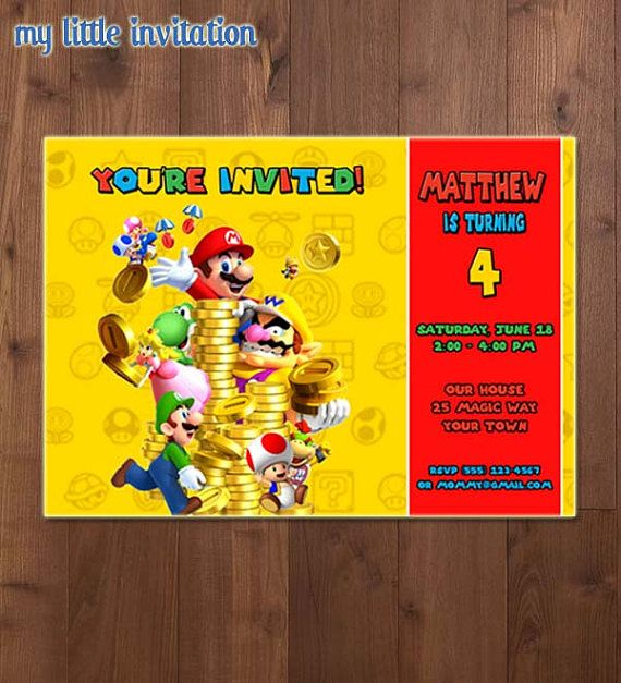 Super Mario Brothers Birthday Party by MyLittleInvitation on Etsy