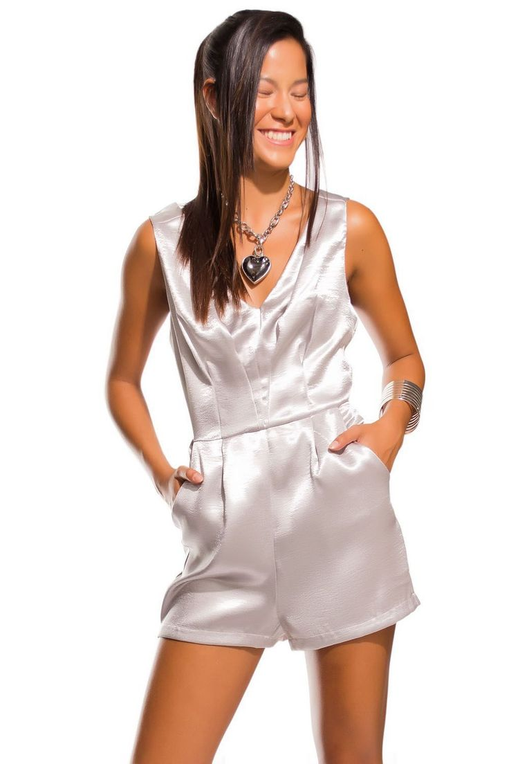 Q2 Silver Playsuit In Satin