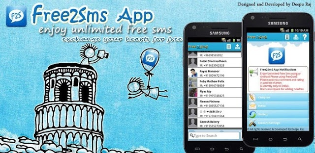 Send Free Text message to any Android Device 3 Apps for