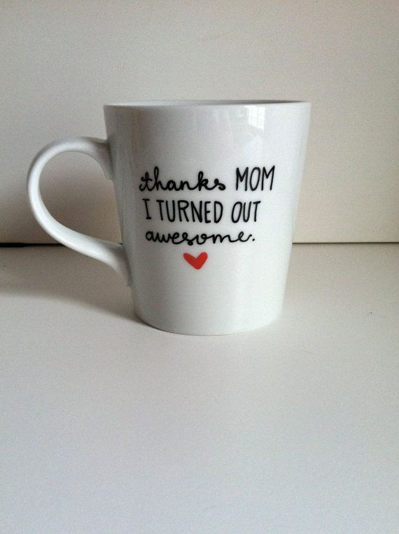 thanks mom coffee mug hand painted handwritten mug mother