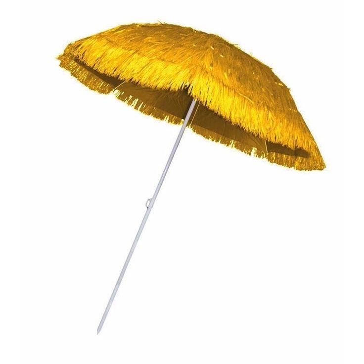 Rieten strand parasol geel. Deze plastic rieten parasol is zeer geschikt bijvoorbeeld een strand- of hawaii feest. De parasol houdt uv-stralen en is in hoogte verstelbaar. Diameter: 1.80 meter.
