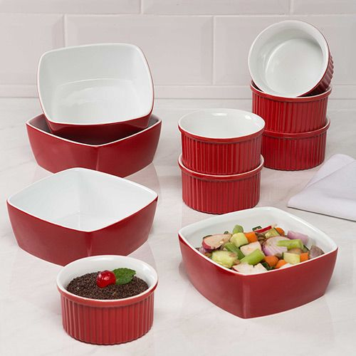 Conjunto Ramequin 6 Peças + Tigelas 4 Peças Vermelho - La Cuisine