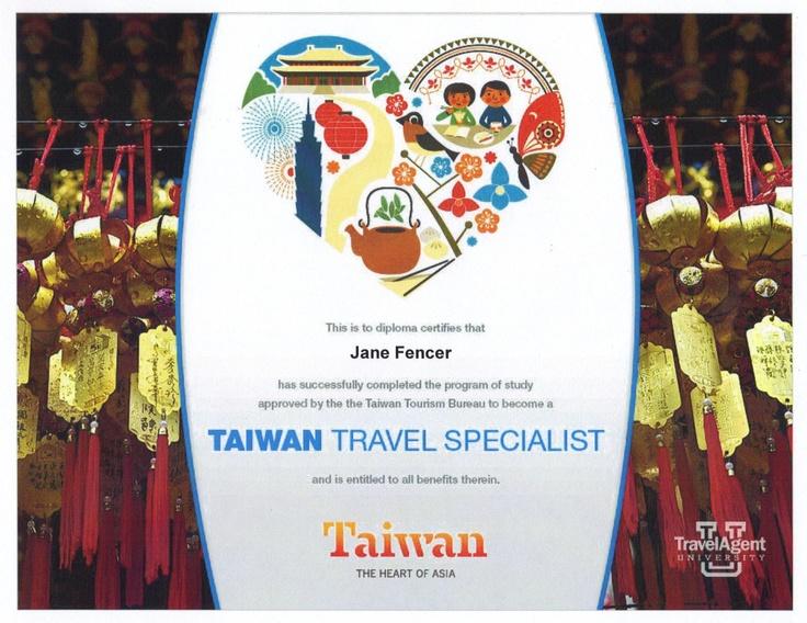 Taiwan Destination Specialist  jane@worldtravelspecialists.biz