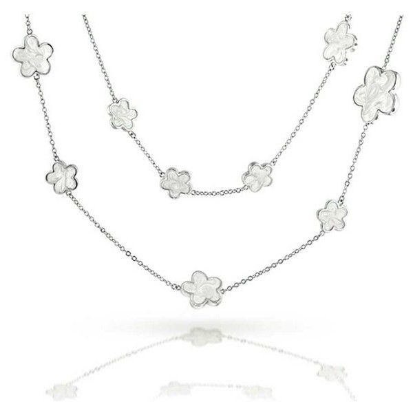 Bling Jewelry 5 Leaf Clover Silver Mother Of Pearl Style Long Necklace... ($70) ❤ liked on Polyvore featuring jewelry, necklaces, white, silver leaf necklace, leaf necklace, clover necklace, flower necklace and long silver necklace