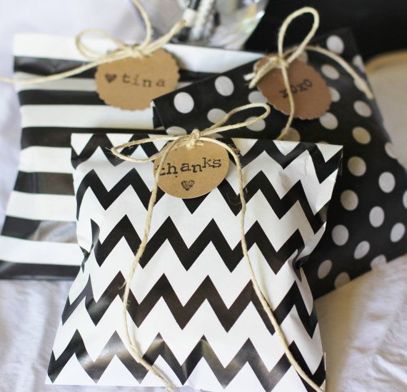 black white paper treat bags gift bags favor bags chevron polka dot stripes