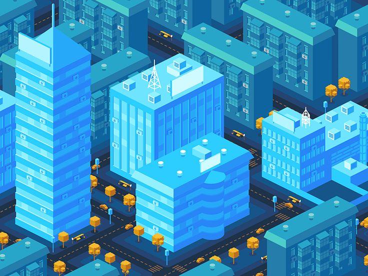Dribbble - Isometric night city by Radik Zagidullin