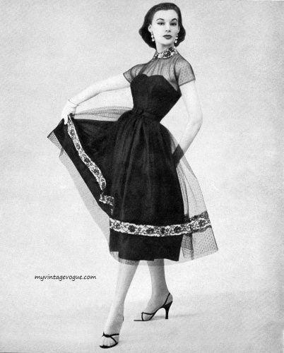 Leonie Vernet wearing a Taffy Original Designs Inc dress, 1956. #vintage #1950s #fashion