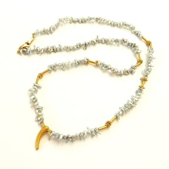 Japanese Keishi Pearl Necklace Gold pearl necklace by RuthaJewelry