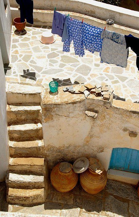 house yard.. Chora, Amorgos Island, Greece (by Carla Coulson)