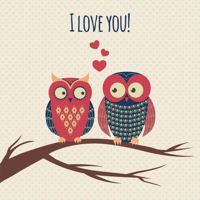 Two owls in love Vintage Art from $39.99 | http://www.wallartprints.com.au/ #VintagePictures #WallArtPrints