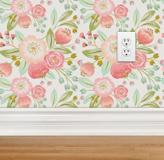 Removable Wallpaper Vintage Floral Peel And Stick Woven Etsy Girls Room Wall Decor Vintage Floral Wallpapers Nursery Wallpaper