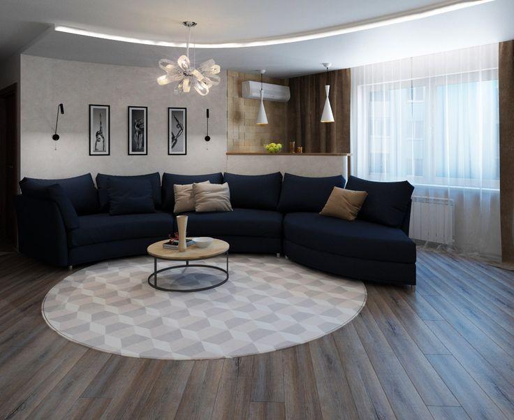 Дизайн-проект в 2к. квартире в #ЖК_Лазурный_Успех. (68 м.кв). Пожеланием заказчика был просторный зал, поэтому гостиную объединили с кухонной зоной, но это не единое пространство, кухня получилась в отдалении. Изгиб дивана повторяет узор на потолке, барная стойка за диваном. Спальня лаконична, выдержана в стиле гостиной. Объединение с лоджией позволило организовать полноценное рабочее место, установить туалетный столик. Ванная с песочной плиткой, шоколадной мозаикой. Сайт: http://саратов-диз