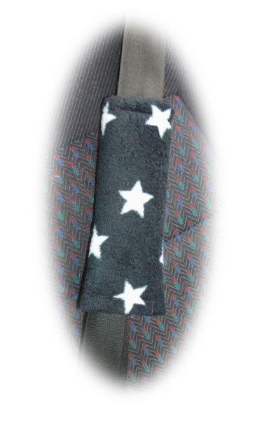 Stars seatbelt pads black & white fleece star print car truck van seat belt covers 1 pair night sky cute halloween
