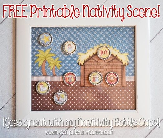 Free NATIVITY SCENE printable download - great to use with Nativity Bottle Cap magnets.Gloucestershire Resource Centre http://www.grcltd.org/scrapstore/