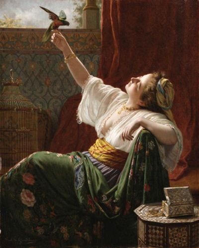 "Louis-Emile-Pinel de Grandchamp (1831-1894)  -""A beauty holding a bird"" -"