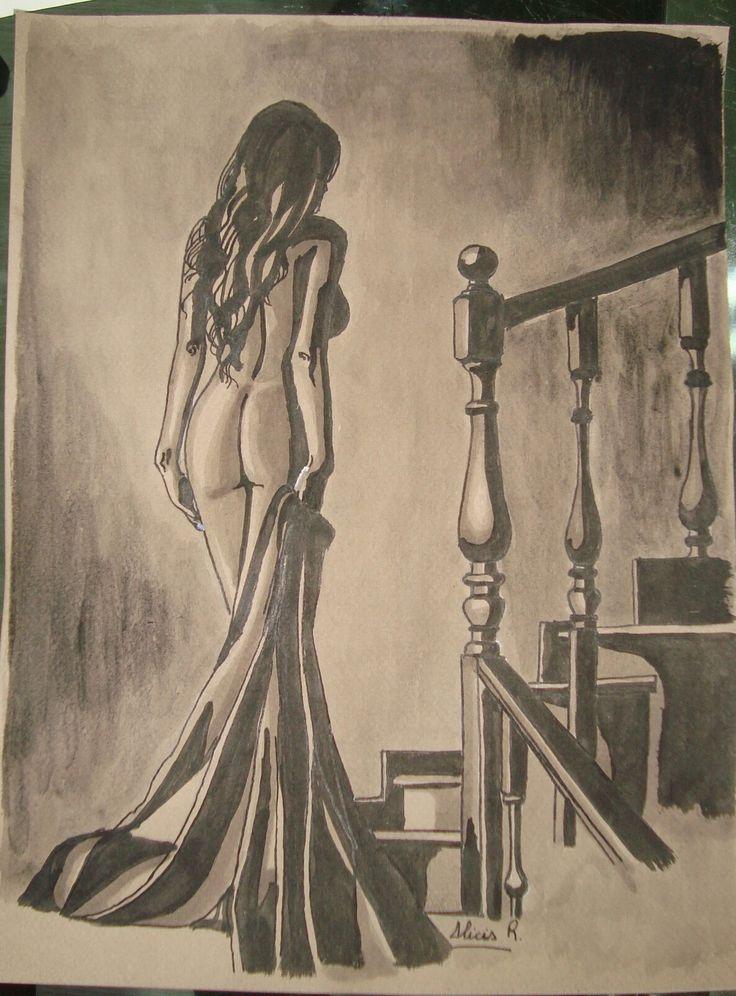 Dibujo en tinta china aguada. Realizado por Alicia Ruiz