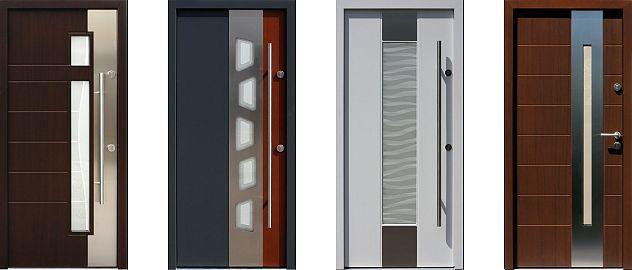 Przykładowe modele drzwi zewnętrznych z aplikacjami ze stali nierdzewnej INOX