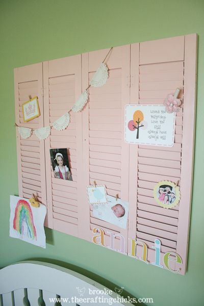 Re-purposing old shutters into an adorable wall display! So cute and so simple.