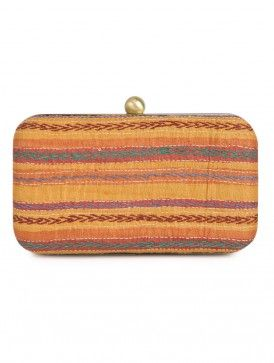 Yellow - Multi-Color Kantha Embroidered Silk Large Clutch - By Jaypore