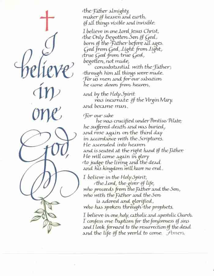 nicene creed 2016-2-22  creeds of christianity  the nicene creed we believe in one god, the father, the almighty, maker of heaven and earth, of all that is, seen and unseen.