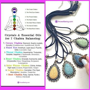 Essential Oils for Chakra Healing using Diffuser Jewelry #fncwellbeing #lavajewelry #youngliving #doterra