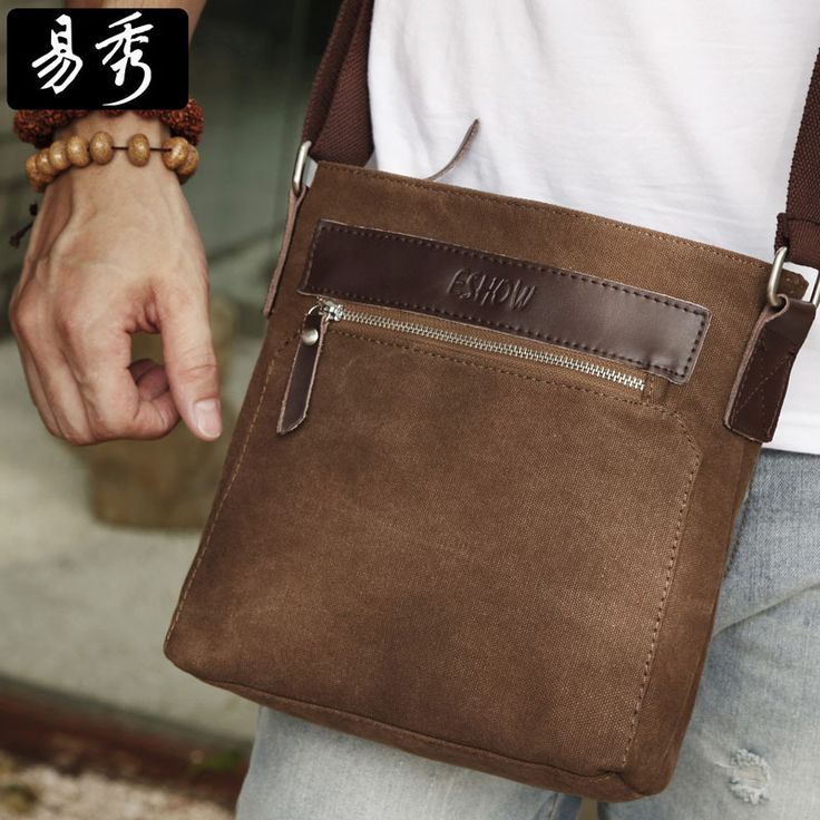 Shopping Festival 60% OFF Eshow Canvas men messenger bags cross body bags men's bags small shoulder bag Free shipping BFK010741 $44.00
