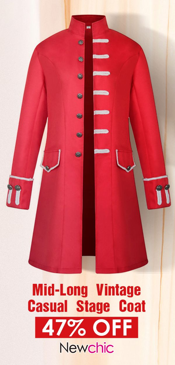 01f74bf178a6 ... Jackets Online Sale At Wholesale Prices. Mens Mid-long Royal Style  Stage Coat Long Sleeve Vintage Casual Trench Coat