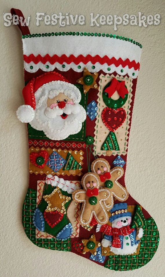 Christmas Stocking Christmas Patchwork by SewFestiveKeepsakes