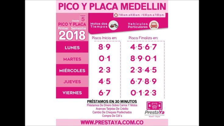 Pico y Placa Medellin 2018 Primer Semestre A partir de este lunes 5 de febrero de 2018 rota el pico y placa en Medellín y en los demás municipios del Área Metropolitana. Cambia para los carros particulares y las motos.  La Secretaría de Movilidad de Medellín informó que entre este lunes y el próximo viernes 9 de febrero, la restricción será pedagógica y no tendrá sanción económica ni se inmovilizará el vehículo.  A partir del lunes 12 de febrero