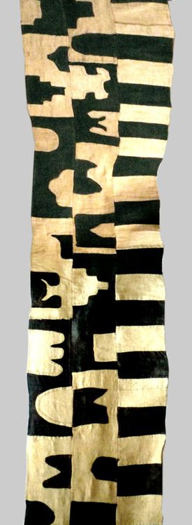 A womans appliqued raffia skirt  Date:mid 20 cent.  purchased in 1968. Booshong Kuba people, Congo