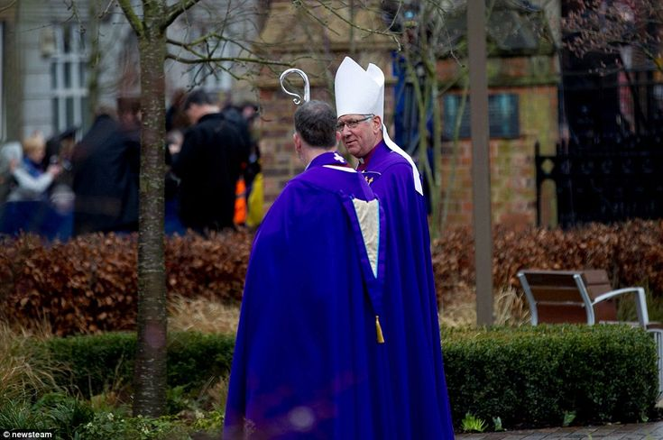 The Bishop of Leicester Tim Stephens and Dean of Leicester David Monteith at the burial. In a written message in the order of service, the Queen said: 'The reinterment of King Richard III is an event of great national and international significance'
