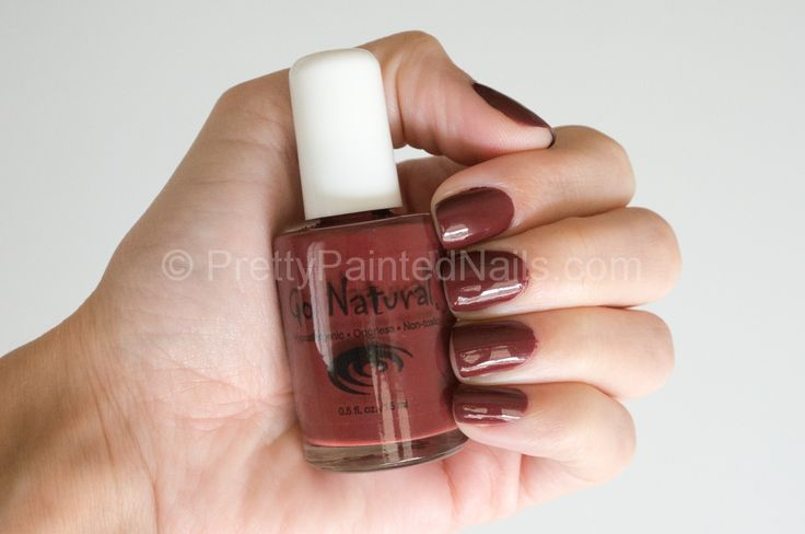 Go Natural Water Based Nail Polish Swatch in Port (Reddish Brown). Read a review of Go Natural Nail Polish at http://prettypaintednails.com/reviews/go-natural-water-based-nail-polish-port/