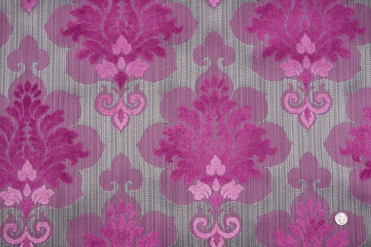 Mood Fabrics : New York Fashion Designer Discount Fabric | HV8195 Heather Gray/Magenta Damask Woven