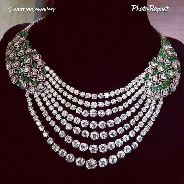 "What a delicious necklace dripping in diamonds! By @kamyenjewellery ""New addition to our #forevermark collection! With natural Zambian emerald hearts @forevermarkdiamonds"" via @PhotoRepost_app"