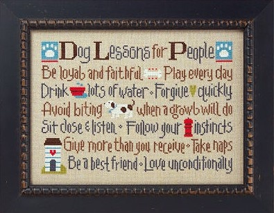 cross stitch pattern lizzie kate dog lessons for people at thecottageneedle.com $8.00