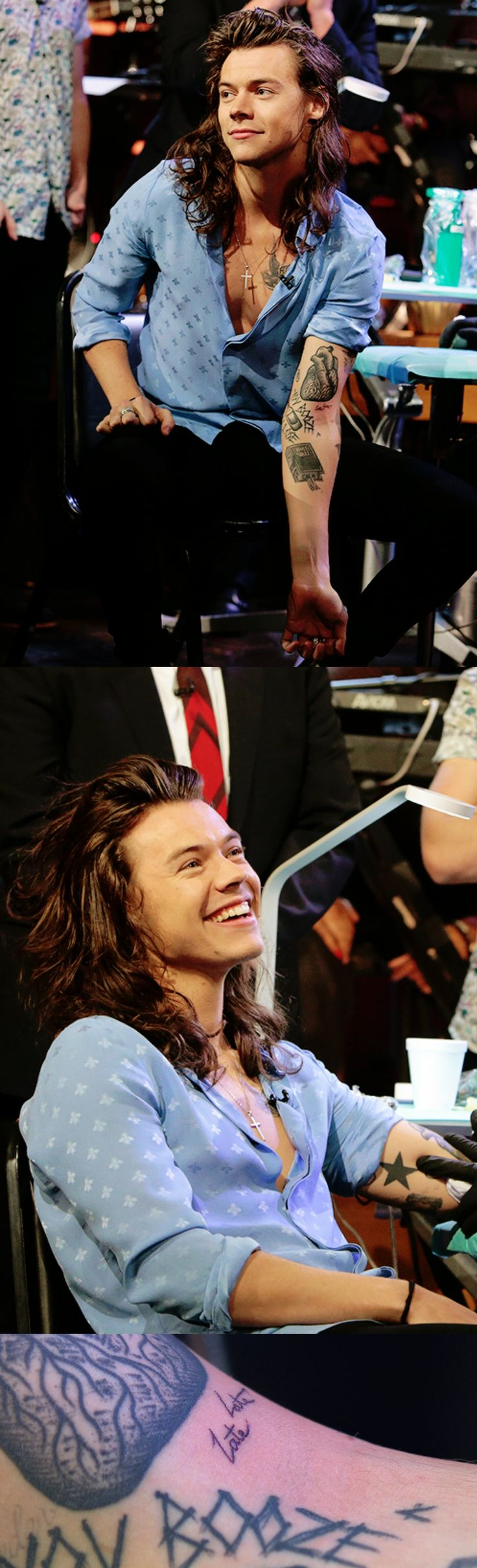 "Harry Styles ❥ got a new tattoo ""Late Late"" at the James Corden show."