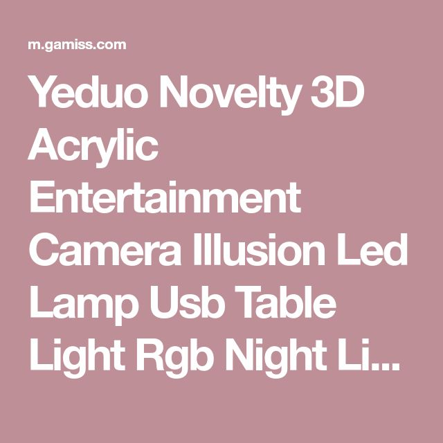 Yeduo Novelty 3D Acrylic Entertainment Camera Illusion Led Lamp Usb Table Light Rgb Night Light Romantic Bedside Decortion Lamp