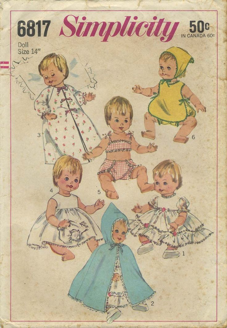 Vintage Doll Clothes Sewing Pattern | Doll Wardrobe Suitable for such vinyl body dolls as Betsy Wetsy *, Ginny Baby and Sweetie Pie | Simplicity 6817 | Year 1966 | Doll Size 14"