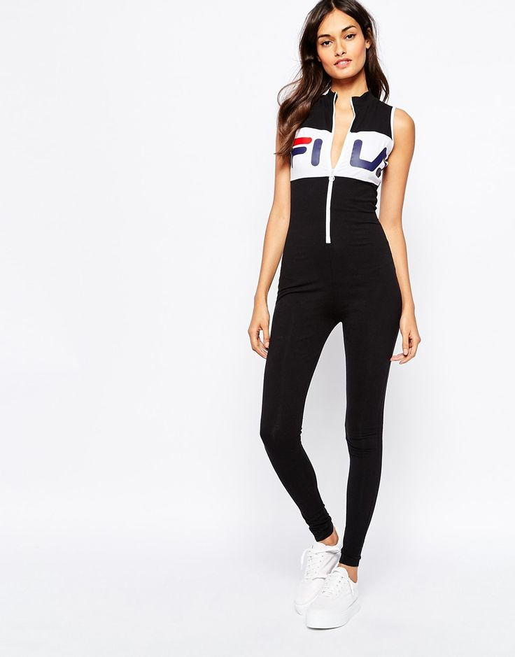 Image 4 of Fila High Neck Unitard Legging Jumpsuit With Front Zip Detail