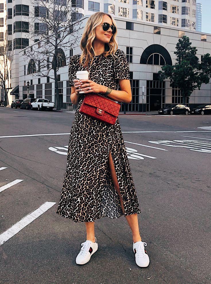 Fashion Jackson Wearing Leopard Dress Red Chanel Handbag Gucci Ace