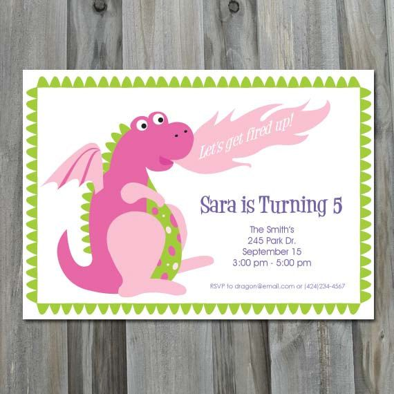 Dragon Birthday Party Invitation - DIY Printable, Personalized, Dragon Birthday Invitation for a Girl