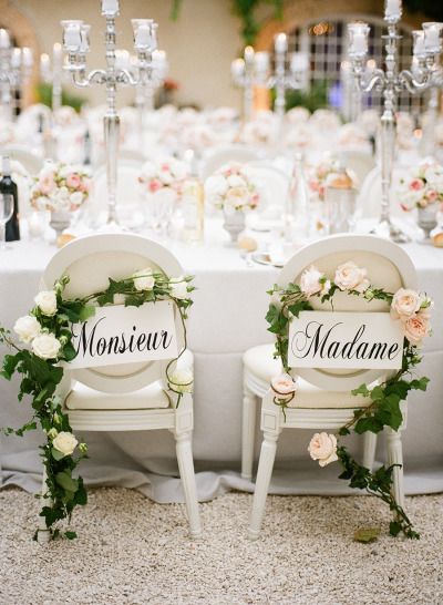 Exquisite bride and groom chairs: http://www.stylemepretty.com/destination-weddings/2015/01/05/black-tie-french-chateau-wedding/ | Photography: Christina Brosnan - http://www.brosnanphotographic.com/