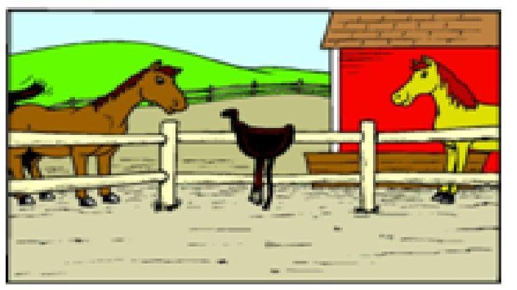 boerderij met twee paarden