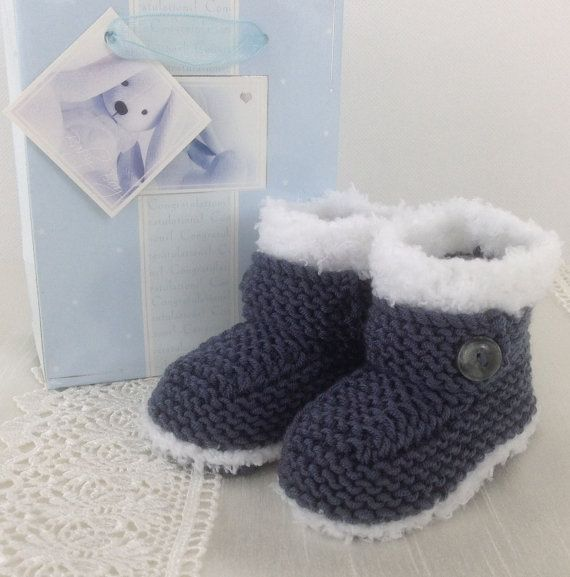 Baby Booties - Handmade Knitted Baby Booties - Boys Snug Bootees - 0-3 Months, 3-6 Months, 6-9 Months by Precious Newborn Knits
