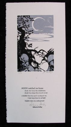 Moon watched me home - letterpress broadside with lino-cut....poem by Rebecca Bailey