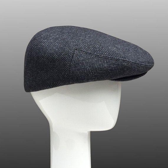 b6bcd6018 Ivy Peaky Driver Derby Flat Cap Hat Grey Herringbone Men Large ...