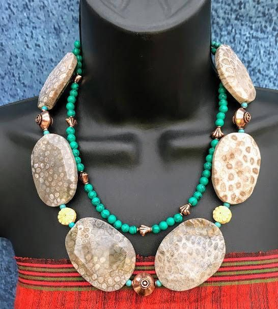 Statement Necklace Coral fossil Slab Nuggets Turquoise