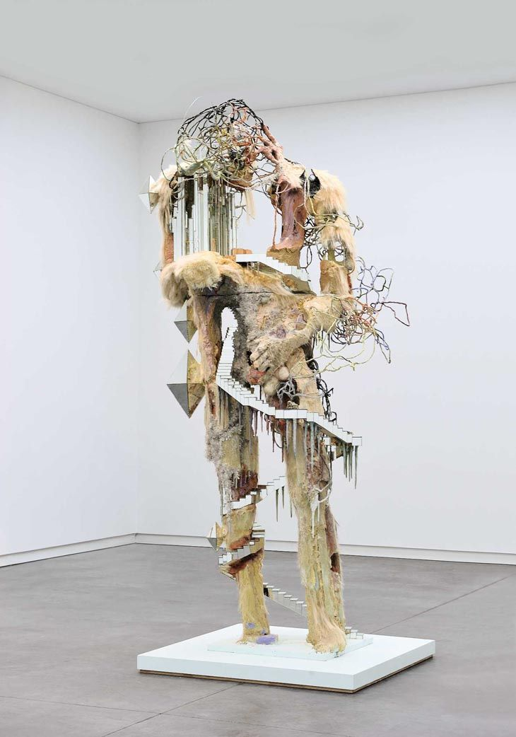 "David Altmejd, ""The New North"", 2007,  wood, foam, expandable foam, resin, paint, magic-sculpt, magic-smooth, epoxy, glue, mirror, horse hair, quartz crystals and wire"