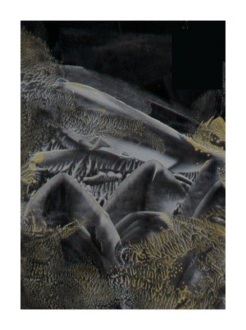 Space Walk - Encaustic art wax fantasy landscape painting.