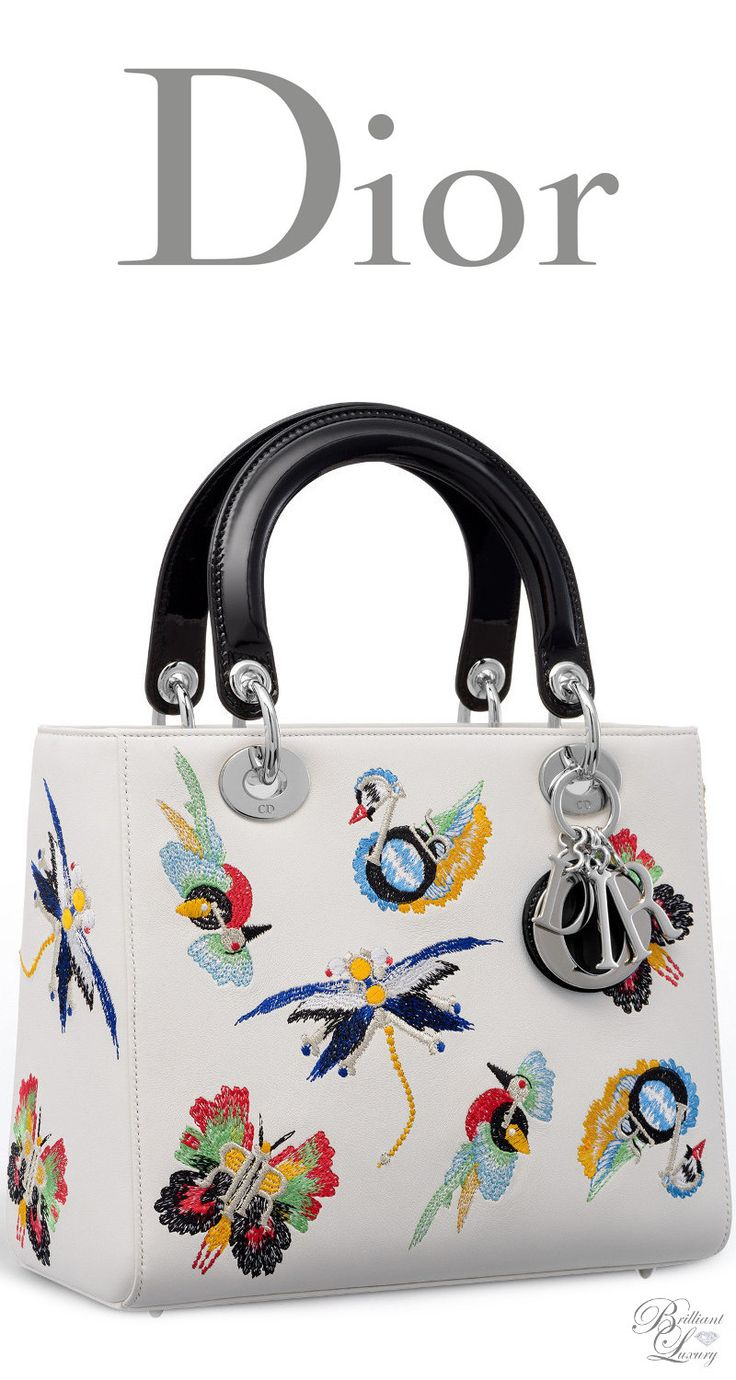 Brilliant Luxury * Dior Autumn 2016 ~ Lady Dior bag in white calfskin embroidered with animals inspired by Dior charms